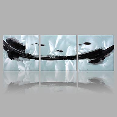 Hang-Painted öljymaalaus Maalattu - Abstrakti Taiteellinen Abstrakti Kangas 3 paneeli