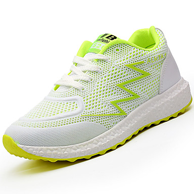 Women's Athletic Shoes Comfort Light Soles Spring Fall Breathable Mesh PU Athletic Casual Lace-up Flat Heel White Green Blushing Pink