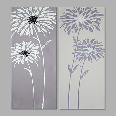 Hand-Painted Floral/Botanical Vertical, Artistic Canvas Oil Painting Home Decoration Two Panels