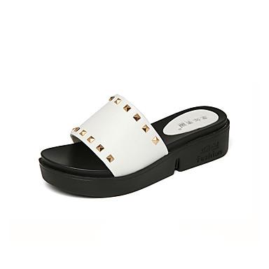 Women's Shoes Synthetic Microfiber PU Summer Comfort / Moccasin Heels Wedge Heel / Creepers Peep Toe Rivet White / Black / Yellow