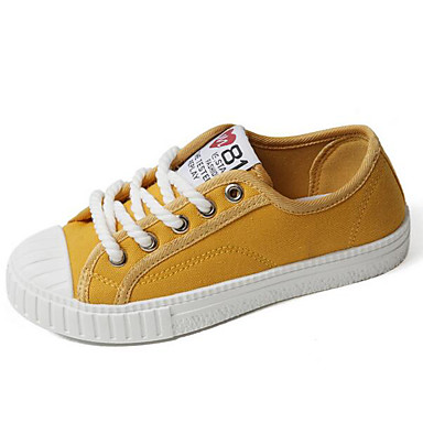 Women's Sneaker Comfort Spring Fall Canvas Casual White Black Yellow Flat