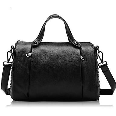 Women Shoulder Bag Cowhide All Seasons Casual Outdoor Round Zipper Black
