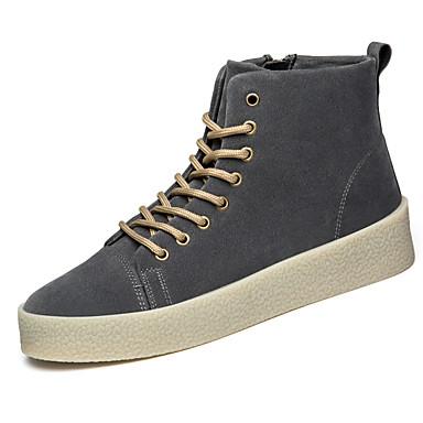 Men's Shoes Pigskin Spring Summer Comfort Light Soles Sneakers For Casual Black Gray Khaki