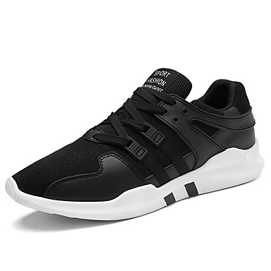 Men's Shoes Net Polyamide fabric Summer Fall Comfort Light Soles Sneakers Lace-up for Athletic Outdoor White Black Blue Black/White
