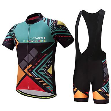 78eeceb80 Homens Camisa com Bermuda Bretelle - Verde Moto Conjuntos de Roupas  Esportes Padrão Ciclismo de Montanha