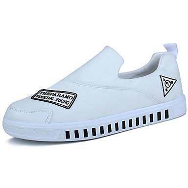 Miesten kengät PU Kevät Syksy Comfort Mokkasiinit Kävely varten Kausaliteetti Valkoinen Musta Punainen