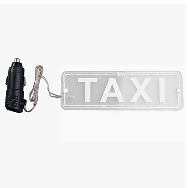 ZIQIAO Taxi LED Sign Light Indicator DC 12V LED Transparent PMMA TAXI Cab Roof Neon Sign Light Board Support Car Charger