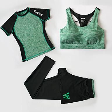 Naisten Verryttelypuku Fitness, Juoksu & Yoga Vaatesetit varten Jooga Juoksu Kuntoilu Fitness Hölkkä Ohut Fuksia Vihreä