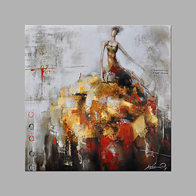 Pintura a Óleo Pintados à mão - Pessoas Fashion Tela de pintura / Lona esticada