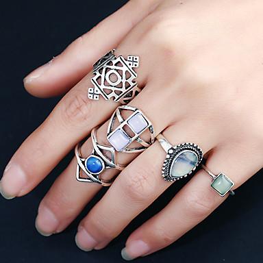 Naisten Sormus Pyöreä Muoti Rock Multi-tapoja Wear Metalliseos Hartsi Tekojalokivi Pyöreä Circle Shape Korut Syntymäpäivä Juhla