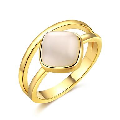 Mulheres Anel Zircônia Cubica Dourado Prata Zircão Cobre Prata Chapeada Chapeado Dourado Forma Geométrica Irregular Personalizada Luxo
