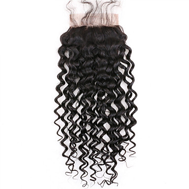 Curly 4x4 Closure Swiss Lace Human Hair Free Part