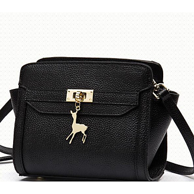Women Shoulder Bag Cowhide All Seasons Casual Outdoor Square Zipper Black Red Blushing Pink