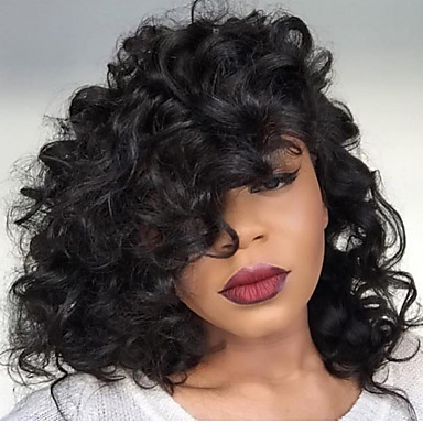 Human Hair Lace Front Wig Brazilian Hair Curly Wig Bob Haircut / With Baby Hair Natural Hairline / African American Wig / 100% Hand Tied Women's Short / Medium Length / Long Human Hair Lace Wig