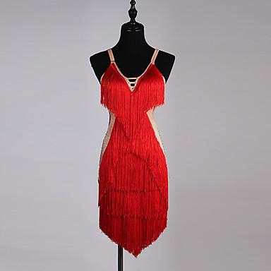 Latin Dance Dresses Women's Performance Spandex Organza Crystals / Rhinestones Tassel Sleeveless Dress