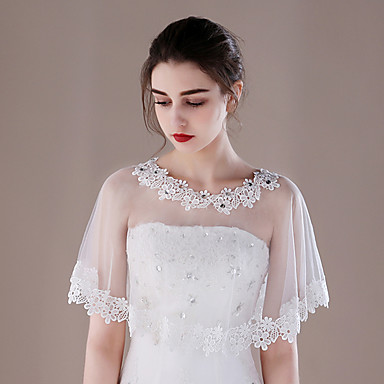 Tulle Wedding Party / Evening Women's Wrap With Lace Capelets