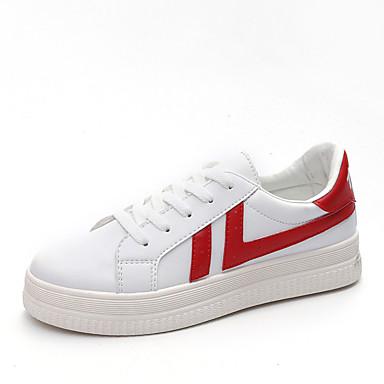 Damen Schuhe TPU Frühling Herbst Komfort Leuchtende Sohlen Sneakers Walking Flacher Absatz Runde Zehe Schnürsenkel für Normal Weiß