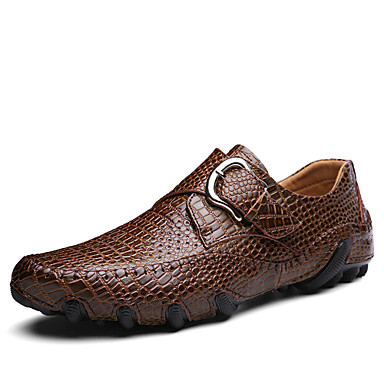 Homens sapatos Couro Primavera Verão Solados com Luzes Conforto Tênis Presilha para Casual Ao ar livre Preto Marron
