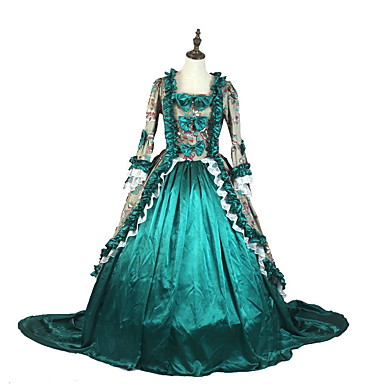 Vintage Victoriansk Kostume Dame Party-kostyme Grå Grønn Rosa Vintage Cosplay Polstret Stoff Taft 3/4 ermer Asymmetrisk
