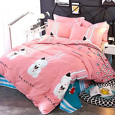 Cartoon 4 Piece Cotton Cotton 1pc Duvet Cover 2pcs Shams 1pc Flat Sheet