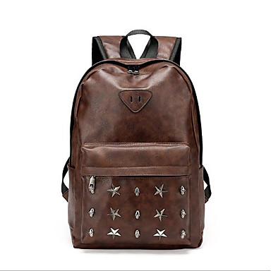 Men Bags All Seasons PU Backpack for Casual Brown Black