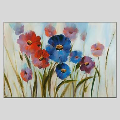 Pintados à mão Floral/Botânico Panorâmico horizontal, Abstracto Tela de pintura Pintura a Óleo Decoração para casa 1 Painel