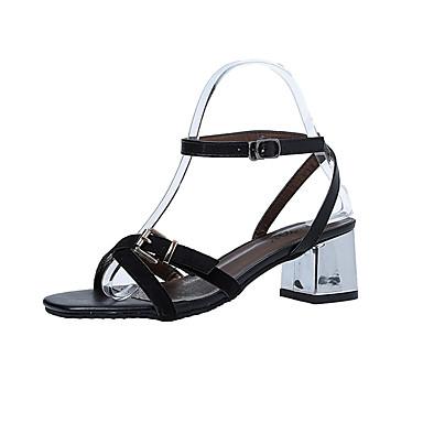 Mulheres Sapatos Cashmere Verão Sandálias Caminhada Salto Baixo Ponta quadrada Combinação para Preto Khaki