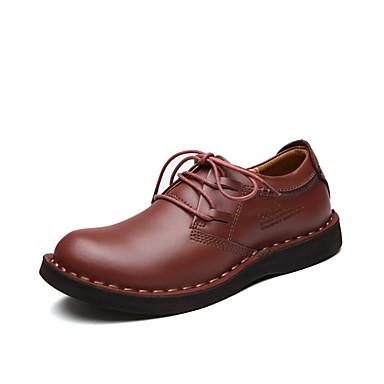 Herre sko Egte Lær Høst Vinter Komfort Lette såler formell Sko Oxfords Snøring Til Avslappet Brun Mørkebrun