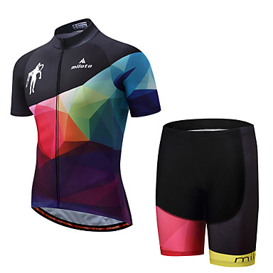 Miloto Men's Short Sleeve Cycling Jersey with Shorts - Black / Pink Bike Padded Shorts / Chamois / Clothing Suit Polyester, Spandex Geometry / Stretchy