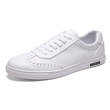 Men's Shoes PU Spring Fall Comfort Sneakers for Casual White Black