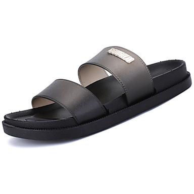 Homens sapatos Couro Ecológico Verão MaryJane Chinelos e flip-flops para Casual Preto Vermelho Azul