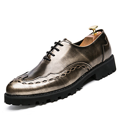 Herre sko PU Vår Sommer Komfort Oxfords Til Bryllup Avslappet Svart Sølv
