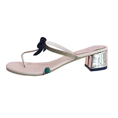 Mulheres Sapatos Couro Ecológico Primavera Verão Doce Fashion Sandálias Salto Robusto Dedo Aberto Laço para Diário Social Bege