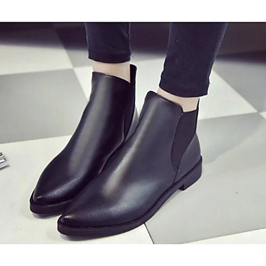 Women's Shoes Real Leather PU Winter Fall Comfort Fashion Boots Boots for Casual Black Gray