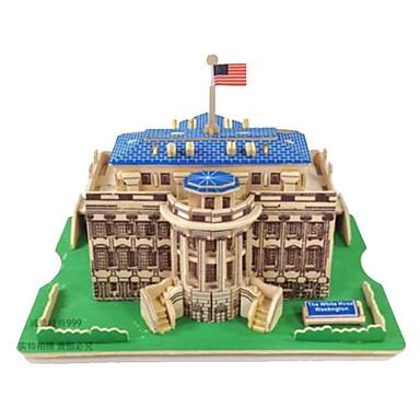 3D Puzzles Jigsaw Puzzle Wood Model Model Building Kit Rectangular Famous buildings Architecture 3D Wood Natural Wood Kid's Adults' Unisex