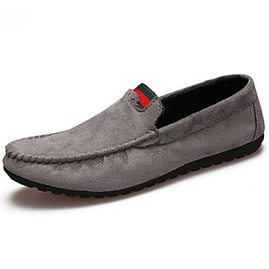 Homens sapatos Couro Ecológico Primavera Outono Conforto Mocassins e Slip-Ons para Ao ar livre Preto Cinzento Khaki