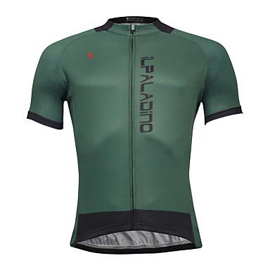 ILPALADINO Men's Short Sleeve Cycling Jersey - Dark Green Bike Jersey, Quick Dry Polyester, Coolmax®