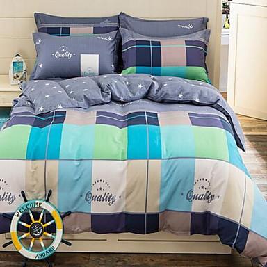 Plaid/Checkered 4 Piece Cotton Cotton 1pc Duvet Cover 2pcs Shams 1pc Flat Sheet