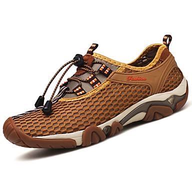 Homens sapatos Couro Ecológico Primavera Outono Conforto Tênis Tênis Anfíbio para Ao ar livre Cinzento Verde Tropa Castanho Claro