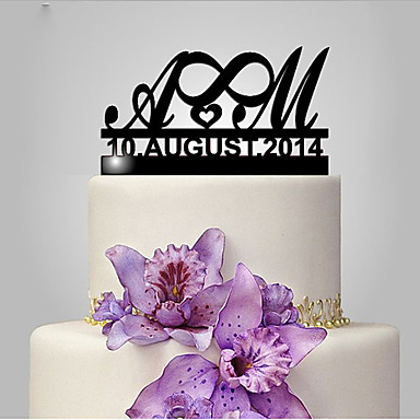 Cake Topper Classic Theme / Wedding Funny & Reluctant / Monogram Plastic Wedding / Anniversary with 1 pcs Poly Bag