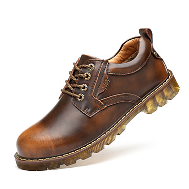 Men's Shoes Leather Fall Winter Combat Boots Comfort Oxfords Walking Shoes for Casual Outdoor Black Brown