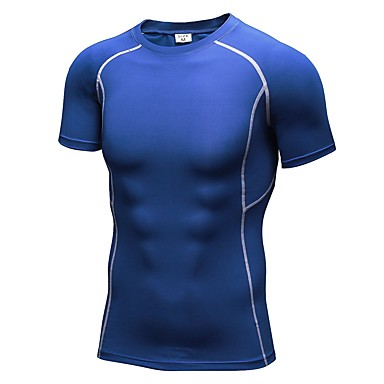 Men's Crew Neck Running Shirt - Red, Green, Blue Sports Tee / T-shirt / Compression Clothing / Top Fitness, Gym, Workout Short Sleeve Activewear Fitness, Running & Yoga Stretchy