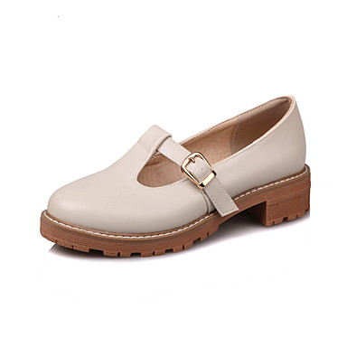 Women's Shoes Synthetic Microfiber PU PU Spring Summer Basic Pump Heels Chunky Heel Round Toe Buckle For Casual Party & Evening Office &