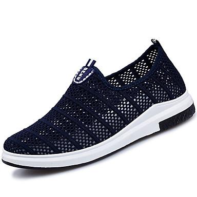 Homens sapatos Tule Verão Conforto Mocassins e Slip-Ons Caminhada Combinação para Casual Preto Cinzento Azul
