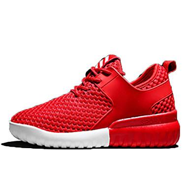 Mulheres Sapatos Couro Ecológico Primavera Outono Conforto Tênis Sem Salto para Ao ar livre Branco Preto Vermelho