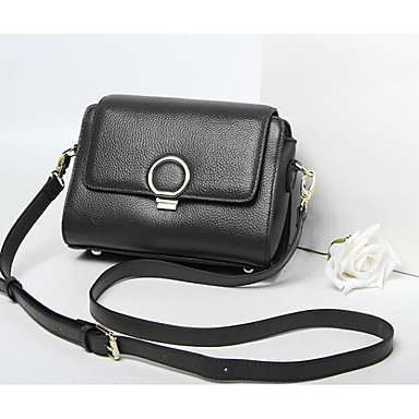 Women Shoulder Bag Cowhide All Seasons Casual Outdoor Square Zipper Black Red