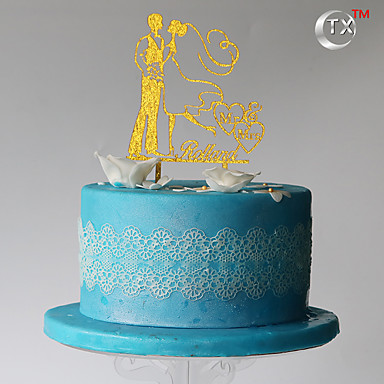 Cake Topper Classic Couple Plastic Wedding Special Occasion Birthday with 1 PVC Bag