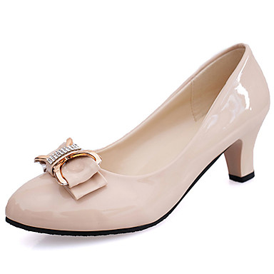 Women's Heels Light Soles Summer Patent Leather Walking Shoes Casual Bowknot Chunky Heel White Black Beige Screen Color 3in-3 3/4in