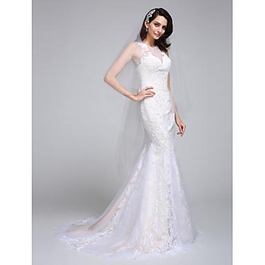 בתולת ים \ חצוצרה אשליה שובל קורט תחרה טול שמלות חתונה מותאמות אישית עם אפליקציות תחרה על ידי LAN TING BRIDE®