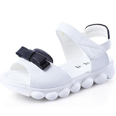 Jente sko PU Vår Høst Komfort Flate sko Gange Magisk teip Til Avslappet Hvit Svart